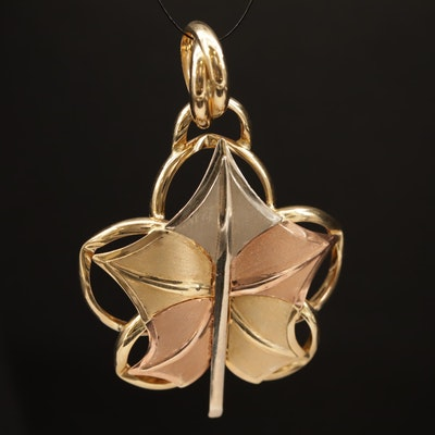 14K Tri-Color Leaf Slide Pendant
