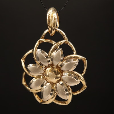 14K Two-Tone Daisy Slide Pendant