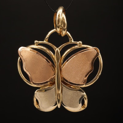 14K Tri-Color Butterfly Slide Pendant