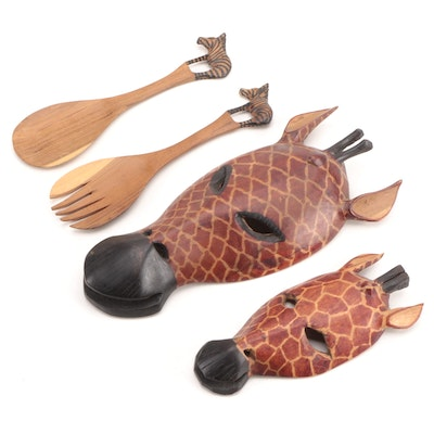 Hand-Carved Wooden Giraffe Wall Hangings with Salad Serving Utensils