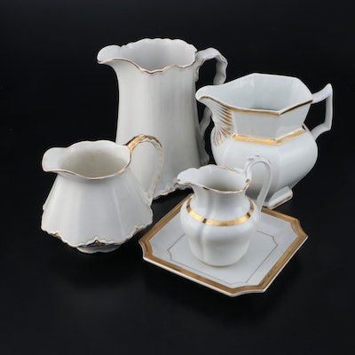 Homer Laughlin and Other Gilt Ceramic Pitchers and Serving Plate
