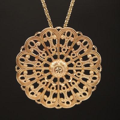 14K Diamond Cut Openwork Flower Pendant on Margherita Chain