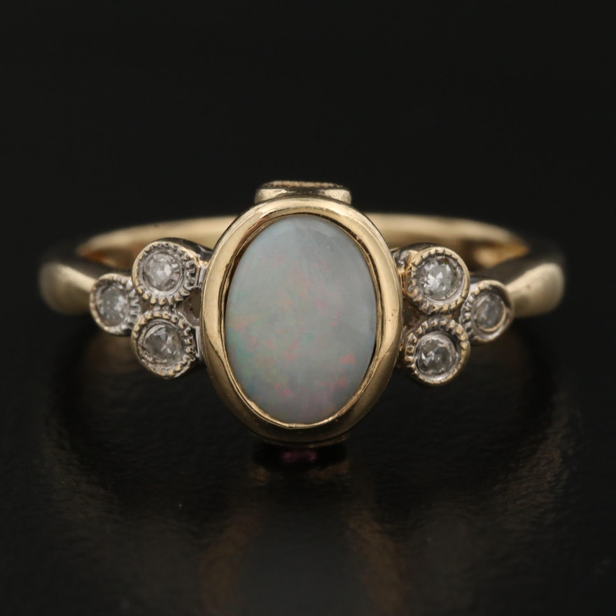 10K Opal and Diamond Ring with Peek-A-Boo Tourmaline Accents