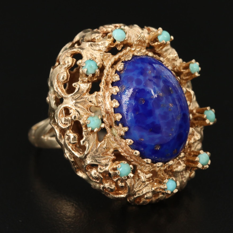 Vintage 14K Imitation Lapis Lazuli and Turquoise Openwork Cocktail Ring