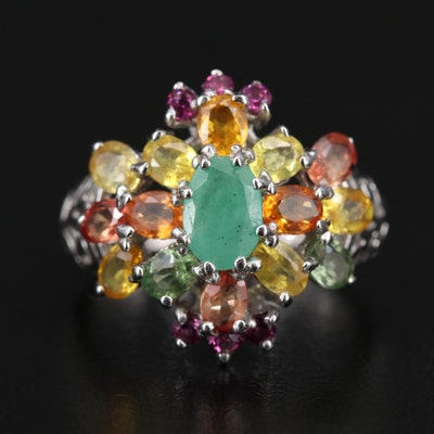 Sterling Silver Emerald, Sapphire and Rhodolite Garnet Cluster Ring