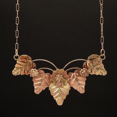 Coleman Black Hills Gold 10K Tri-Color Leaf Motif Necklace