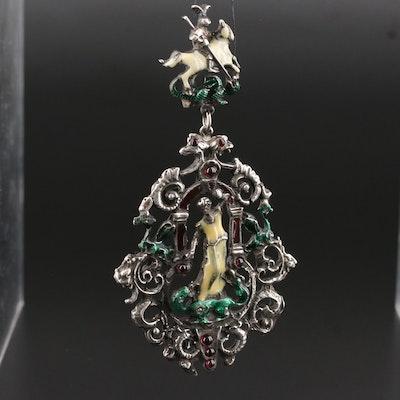 Antique Austro-Hungarian Renaissance Revival Sterling Garnet St. George Pendant