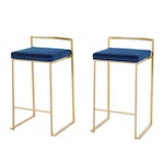 """Pair of Lumisource """"Fuji"""" Metal and Faux Leather Barstools"""