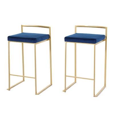 "Pair of Lumisource ""Fuji"" Metal and Faux Leather Barstools"