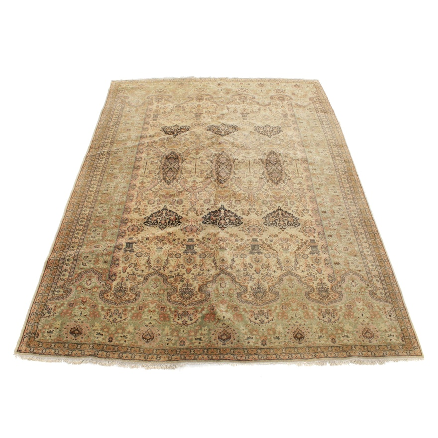 8'4 x 11'9 Hand-Knotted Persian Kirman Room-Size Rug, 20th Century