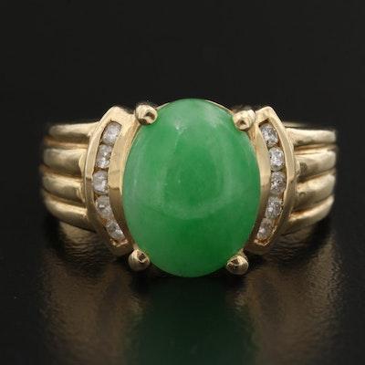 14K Jadeite and Diamond Ring