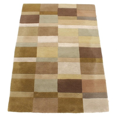 4'1 x 6' Hand-Tufted Modern Style Color Block Wool Rug, 21st Century