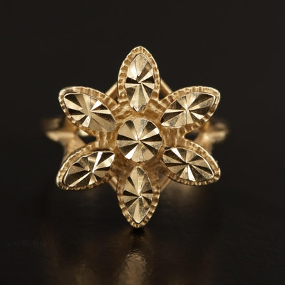 14K Diamond Cut Daisy Ring