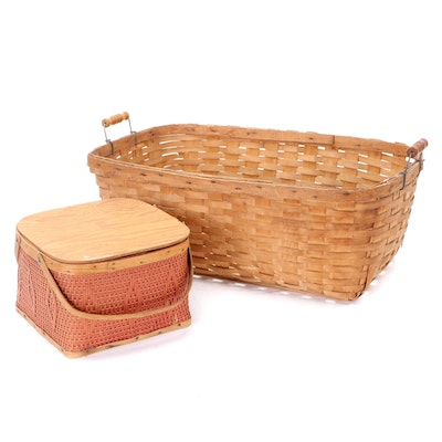 Woven Wood Picnic and Laundry Baskets