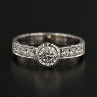 14K Diamond Milgrain and Engraved Ring with GIA Report