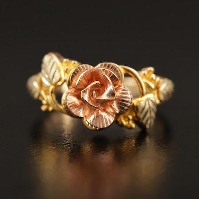Coleman Black Hills Gold 10K Tri-Color Rose and Folitate Motif Ring