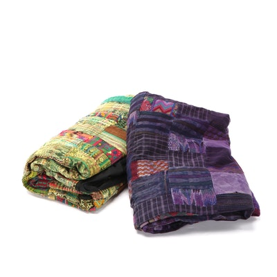 Guatemalan Hand Woven Pieced Decorative Blankets / Coverlets