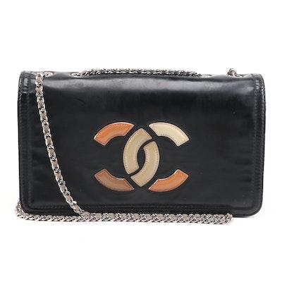 Chanel Lipstick Ligne CC Flap Shoulder Bag in Patent Vinyl and Leather