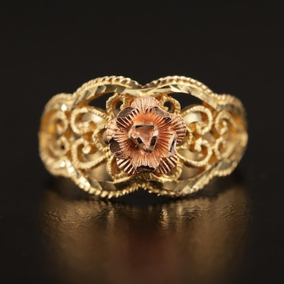 Beverly Hills Gold 14K Rose and Yellow Gold Filigree Ring