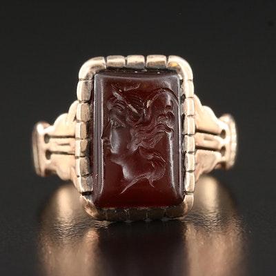 Victorian Carnelian Intaglio Ring with 10K Shank