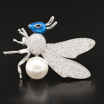 Sterling Cubic Zirconia, Enamel and Faux Pearl Insect Brooch