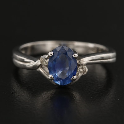 18K Sapphire Ring with Diamond Accents