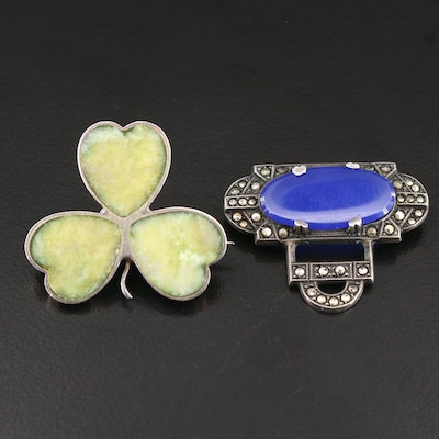 Sterling Brooches Featuring 1961 Henry Griffith & Sons Connemara Marble Shamrock