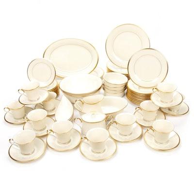 """Lenox Dimension Collection """"Eternal"""" Gilt Banded Porcelain, Service for Twelve"""