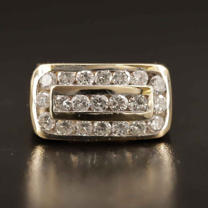 14K 1.50 CTW Diamond Channel Ring