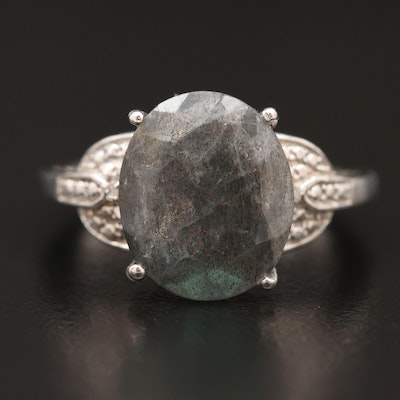Sterling Silver Labradorite Ring with Diamond Accents