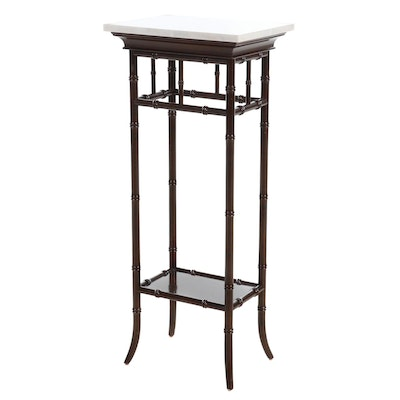 Regency Style Faux Bamboo Marble Top Pedestal