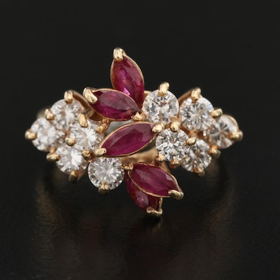 14K Ruby and 1.25 CTW Diamond Cluster Ring