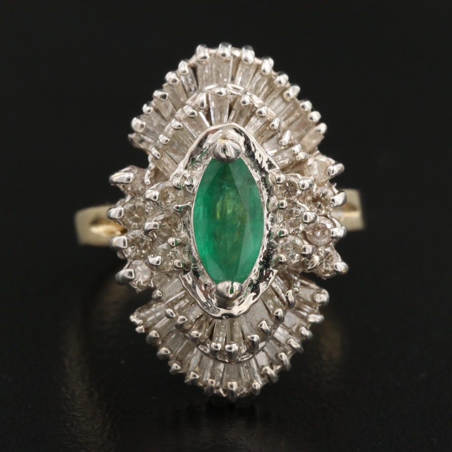 14K Emerald and 1.08 CTW Diamond Ring