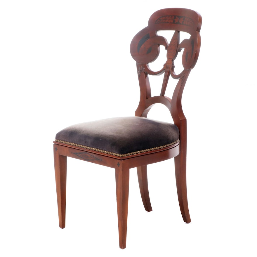 John Widdicomb Company Neoclassical Style Eagle-Decorated Cherrywood Side Chair