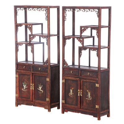 Two Chinese Hardwood and Polished Stone-Mounted Display Cabinets