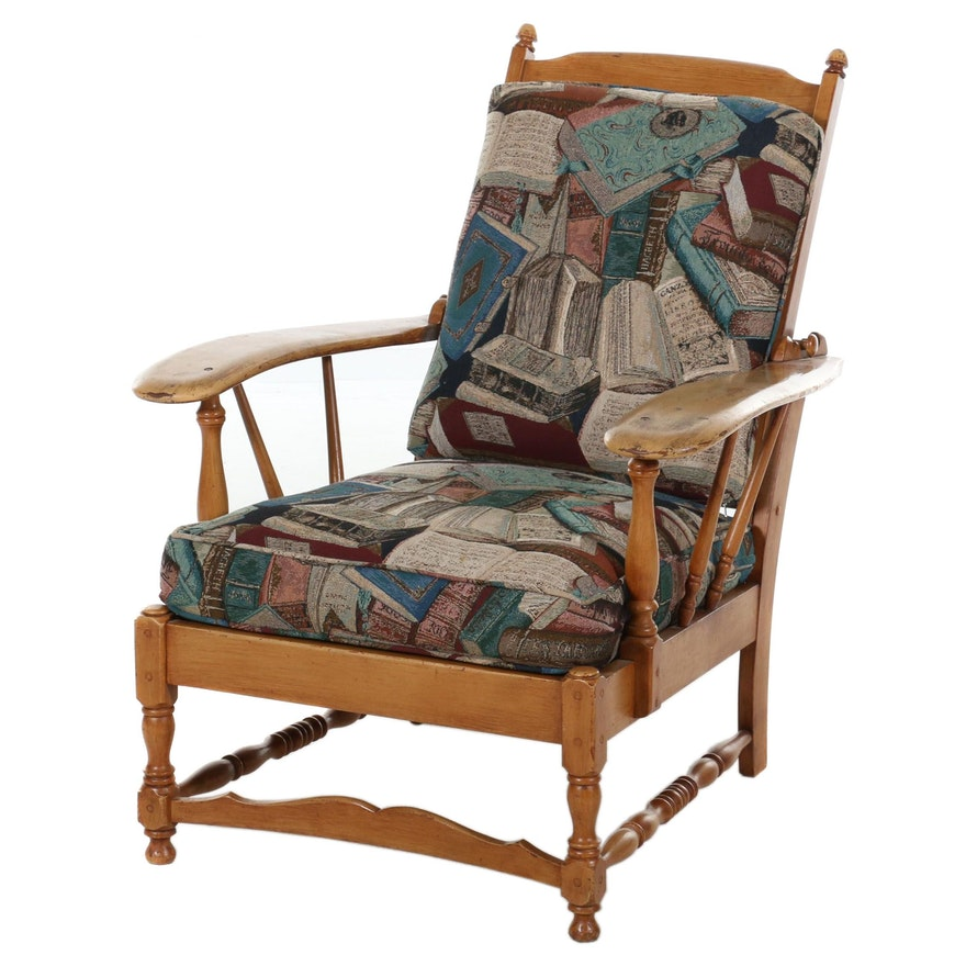 Early American Style Cherry Morris Chair, 20th Century