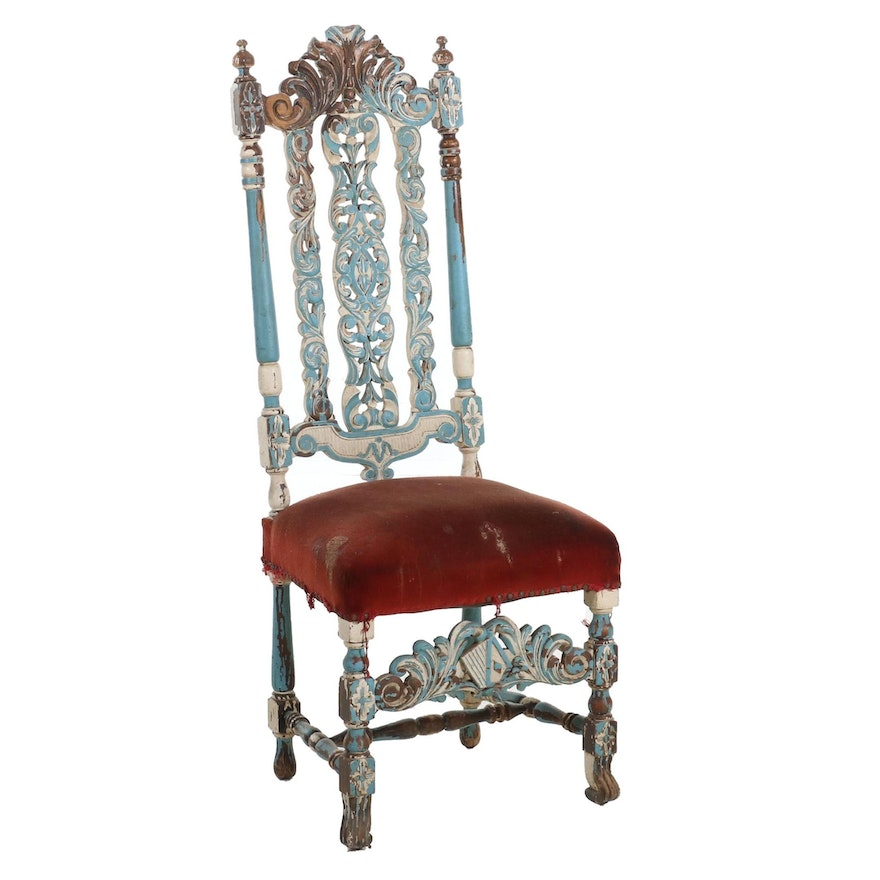Painted Jacobean Revival Chair, Early to Mid 20th Century