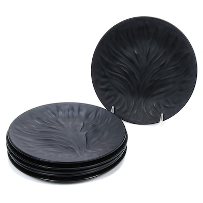 "Lalique ""Algues"" Black Frosted Crystal Salad Plates, Mid to Late 20th Century"