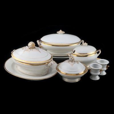 Haviland & Co. Gilt Porcelain Serveware with Czech Porcelain Urns