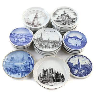 Royal Copenhagen Butter Pats, Amsterdam Porcelain Coasters, and Other Porcelain