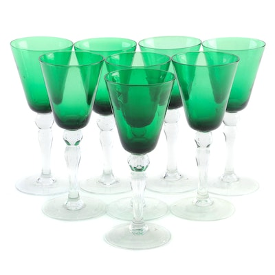 Emerald Green and Clear Glass Water Goblets, Mid to Late 20th Century