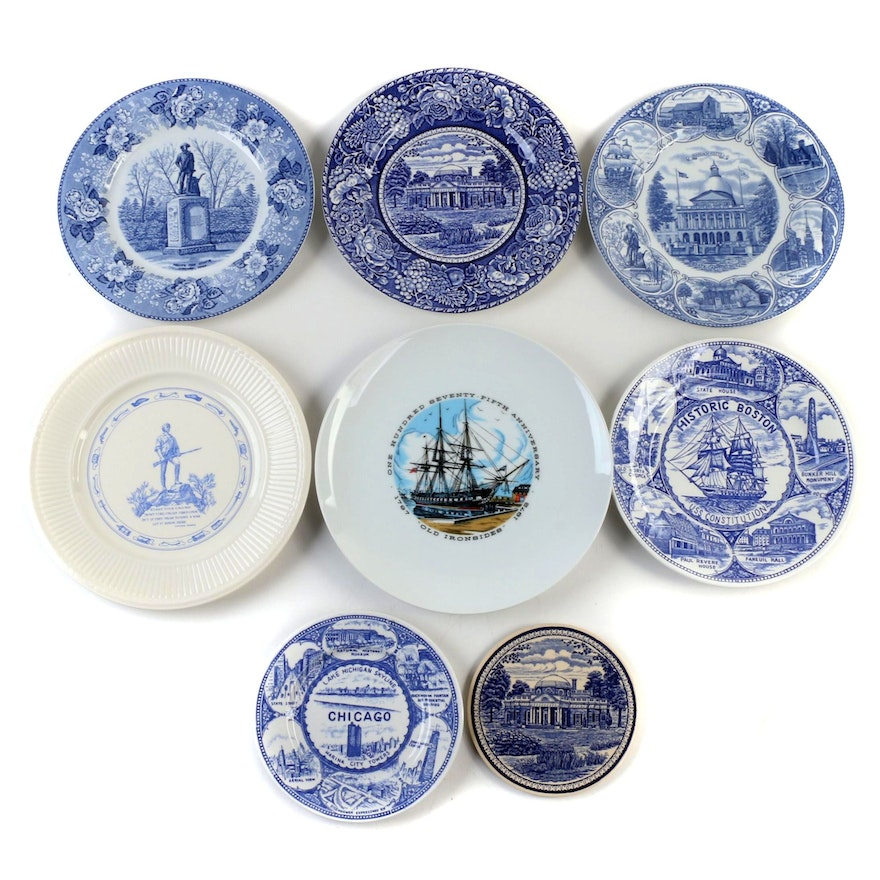 Jonroth and Other Souvenir Plates, Mid-Late 20th Century