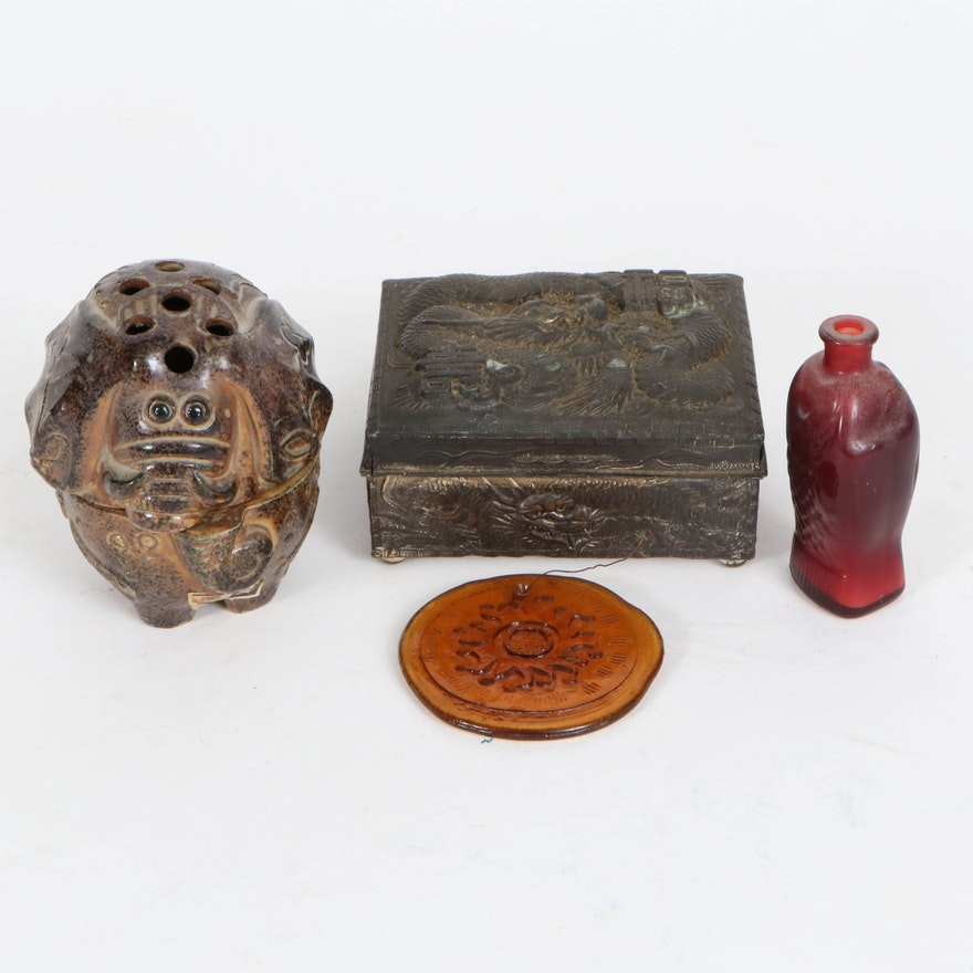 Japanese Dragon Cigarette Box and Other Table Accessories, Mid-20th Century