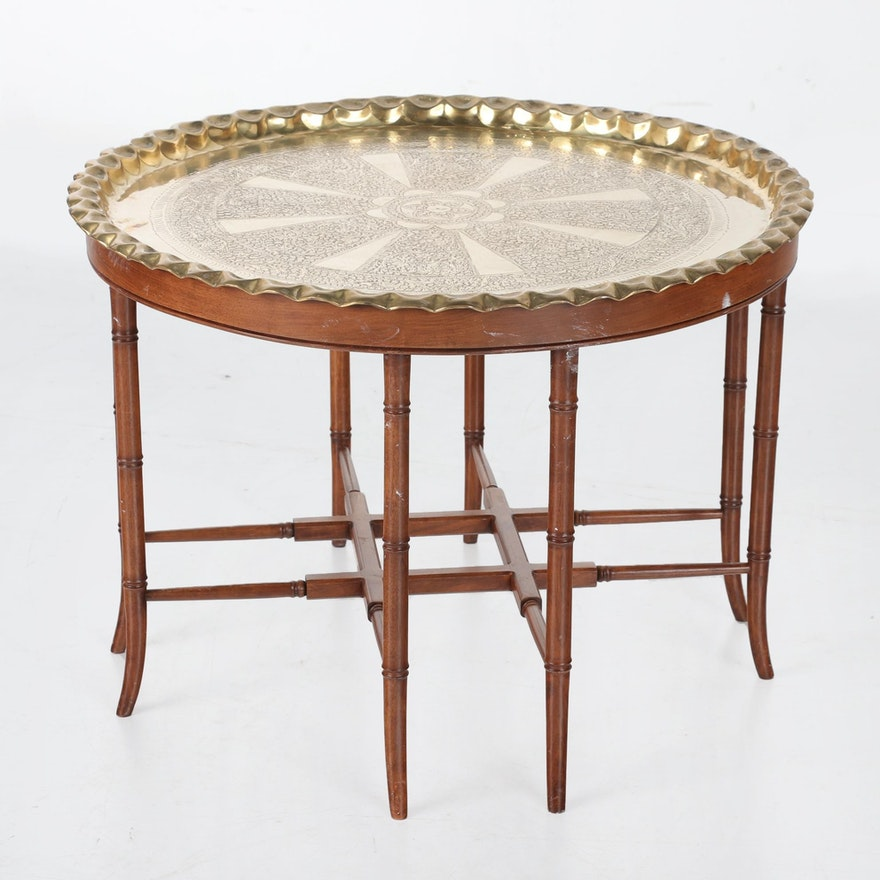 Faux Bamboo and Etched Brass Tray Table