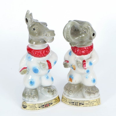 Jim Beam Donkey and Elephant Clown Political Mascot Decanters