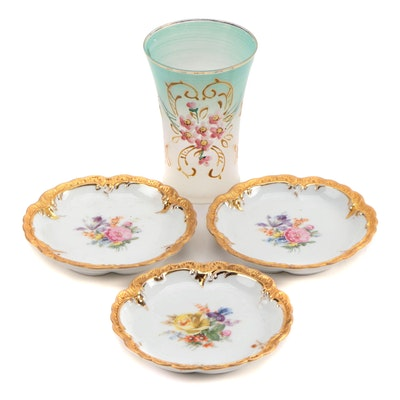 Oscar Schlegelmilch Hand-Decorated Dishes with Hand-Painted Glass Vase
