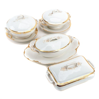 Limoges Gilt Porcelain Covered Dishes and Plates with Cleveland China  Platter