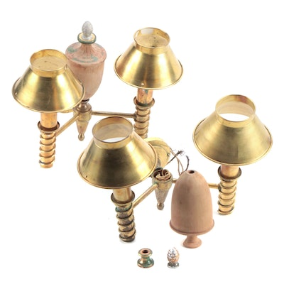 Pair of Brass and Turned Wood Wall Sconces