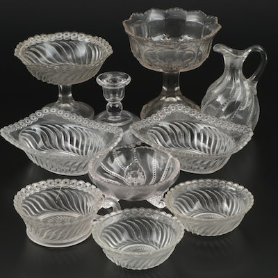 "US Glass Co. ""Beaded Swirl and Disk"" and Other Pressed Glass Serveware"