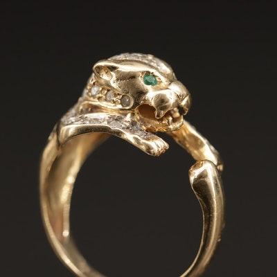 14K Diamond and Emerald Cougar Ring